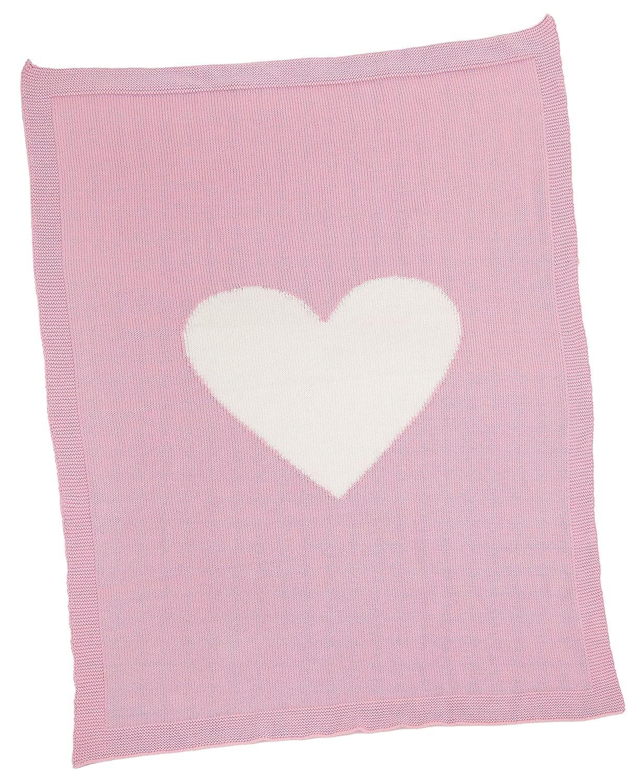 30 x 40 Merben International Pink with Cream Heart Blanket