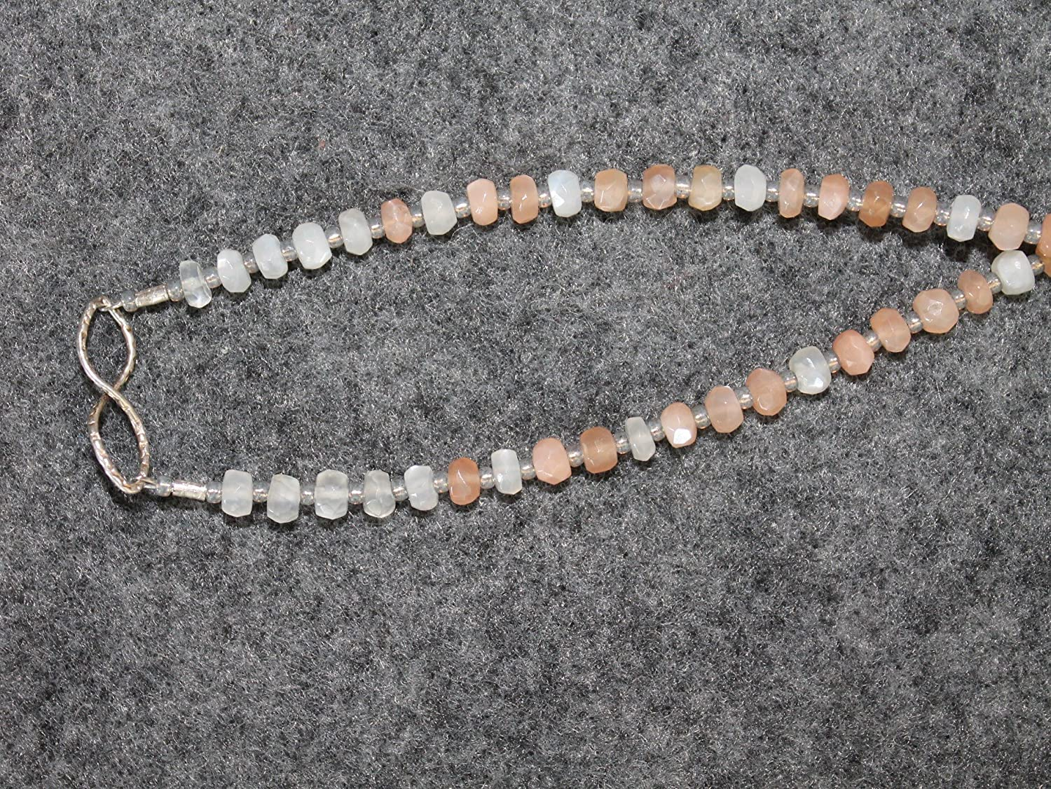 Boho Yoga Inspired Crystal Necklace Rainbow Moonstone with Sterling Silver Infinity Symbol