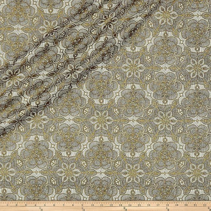 Quilting Treasures QT Quilt Fabrics Basics Luminous Lace Medallion Blender Metallic Cream/Black Quilt Fabric by the Yard, Cream/Black