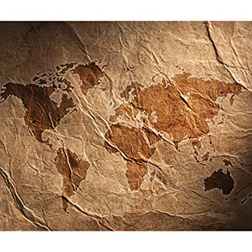 FOTOTAPETE selbstklebend Tapete Kontinent braun Weltkarte Wandtapete