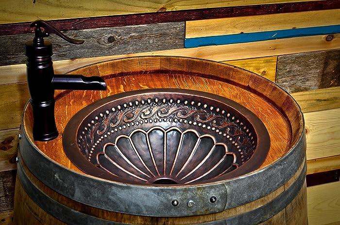 Wine Barrel Copper Sink Vanity With Hidden Hinged Door And Antique  Waterfall Faucet