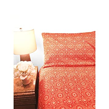 Amazoncom Piece Orange Medallion Pattern Sheets Cal King Set - Orange print sheets