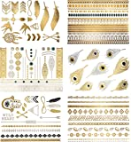 Premium Metallic Tattoos - 75+ Boho & Contemporary Shimmer Designs in Gold, Silver, Black and Turquoise - Temporary Fake Jewelry Tattoos - Bracelets, Feathers, Wrist and Arm Bands (Delila Collection)