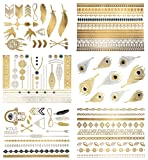 Amazon Price History for:Premium Metallic Tattoos - 75+ Shimmer Designs in Gold, Silver, Black and Turquoise - Temporary Fake Jewelry Tattoos - Bracelets, Feathers, Wrist and Arm Bands (Delila Collection)