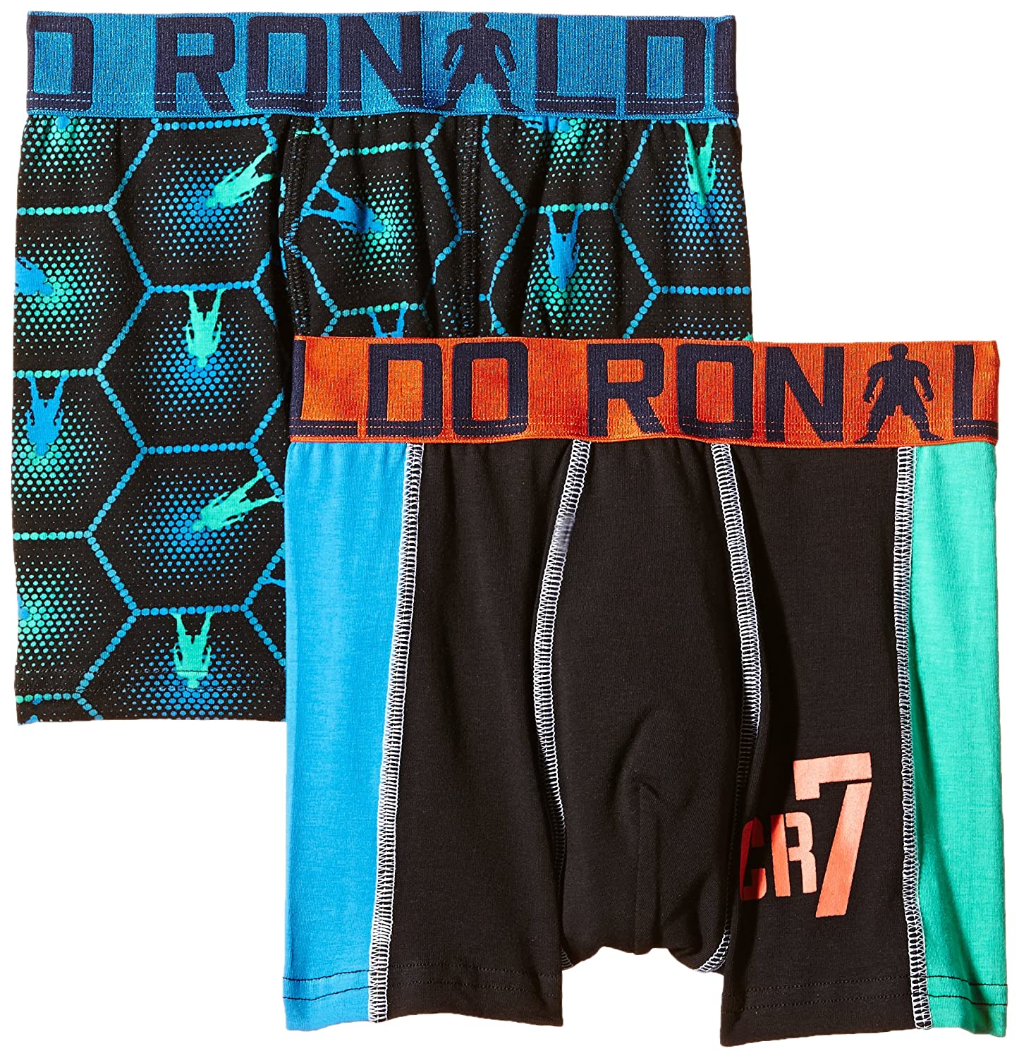 CR7 Cristiano Ronaldo Boys' Tight-Fit Boxers Boys Line Trunks Pack of 2 8400 5100127