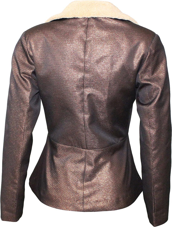 Attuendo Womens Shearling Biker Jacket