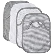 Burt's Bees Baby - Set of 4 Bee Essentials Lap Shoulder Bibs, 100% Organic Cotton, Heather Grey Variety