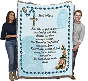 Pure Country Weavers Hail Mary Prayer with Rosary Beads Blanket Throw Woven from Cotton - Made in The USA (72x54)