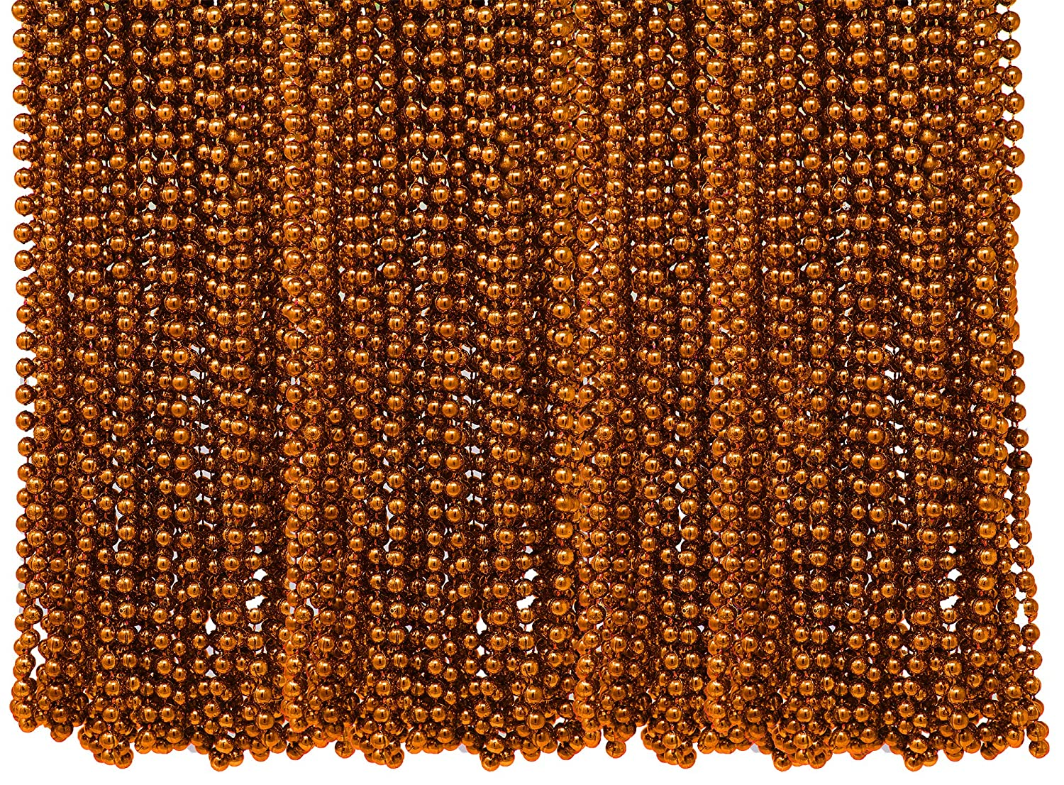 Trick or Treat Party Favors Great for Halloween Costume Accessory Supplies 4Es Novelty Bulk Pack of 72 Orange Beads Necklace 33 Inches Long 7mm Thick Mardi Gras