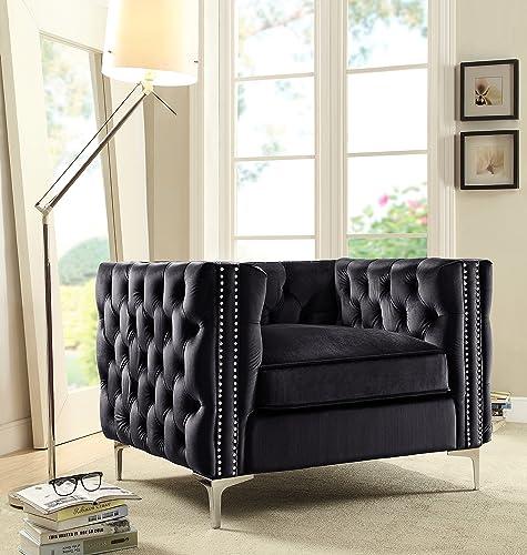 Iconic Home Da Vinci Accent Club Chair Velvet Button Tufted