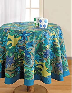 ShalinIndia Floral Printed Round Tablecloth   60 Inches In Diameter    Tablecloths For 4 Seat Tables