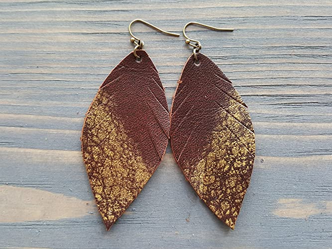 d3ff0ae496f06f Leather Feather Earrings. Bohemian Earrings. Long Boho Earrings. Leather  Leaf Earrings. Bohemian Leather Jewelry.: Handmade