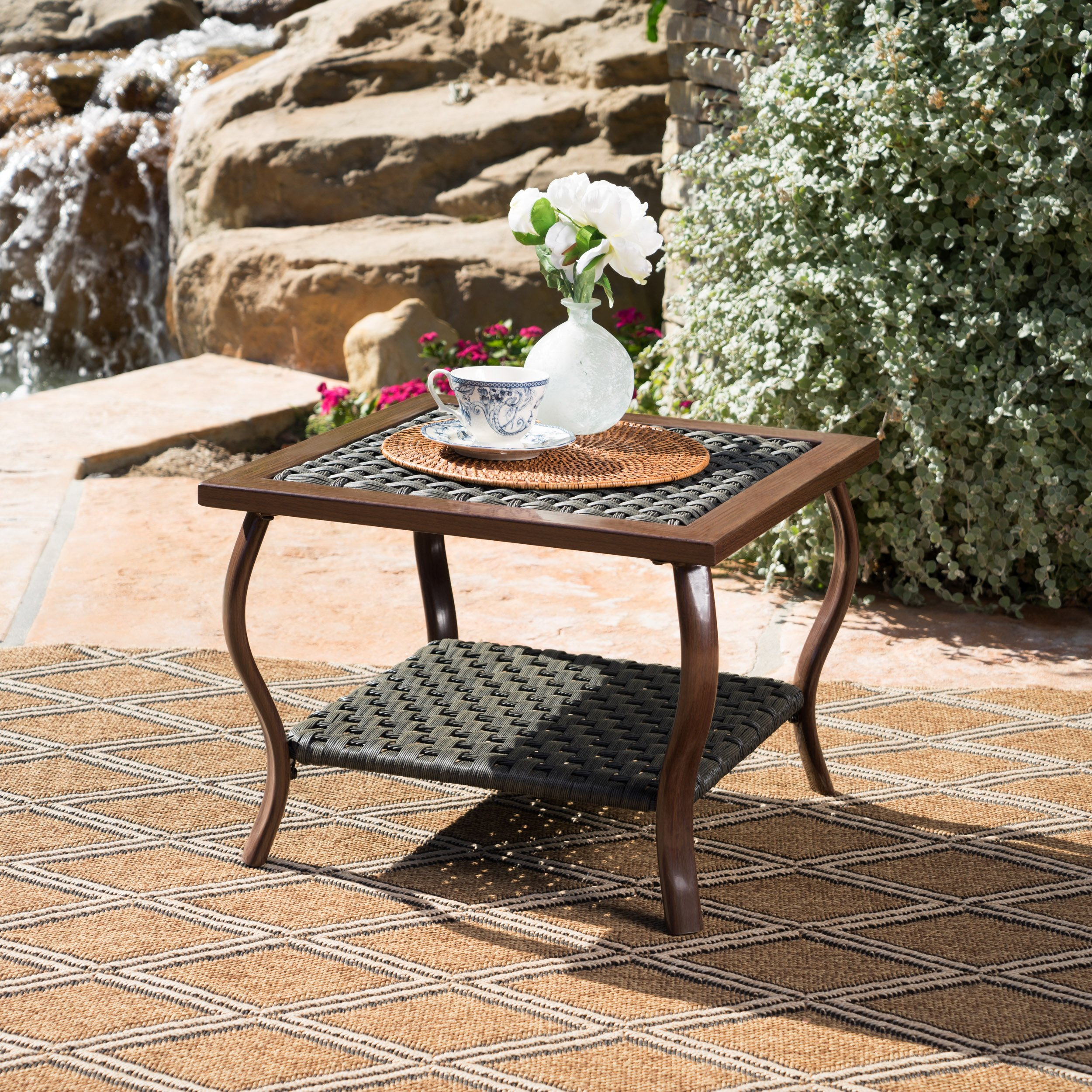Saint Pete Outdoor Grey Wicker Coffee Table with Dark Brown Wood Finished Metal Legs