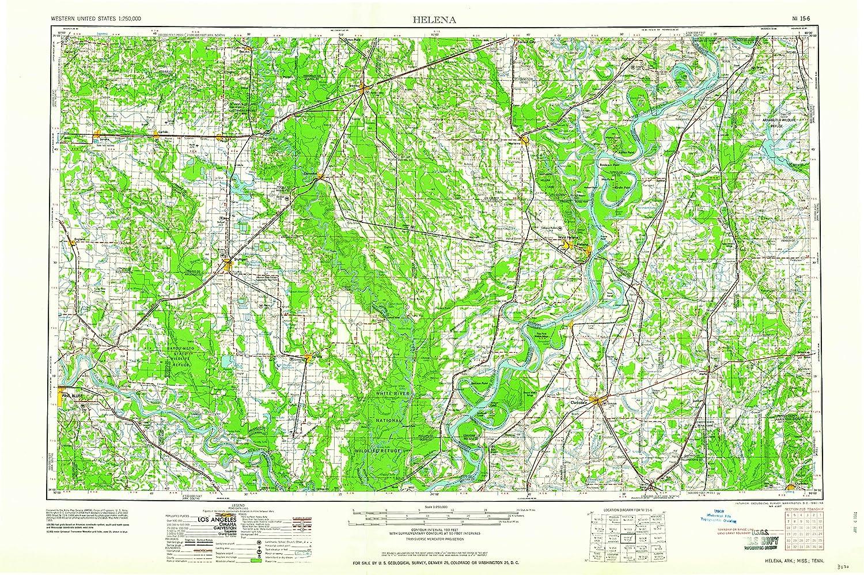 Ark Elevation Map.Amazon Com Yellowmaps Helena Ar Topo Map 1 250000 Scale 1 X 2