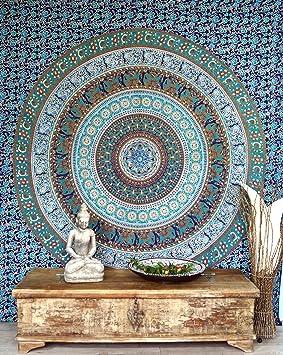 Guru-Shop Tela de Mandala India, Tela de Pared, Colcha Estampado de Mandala