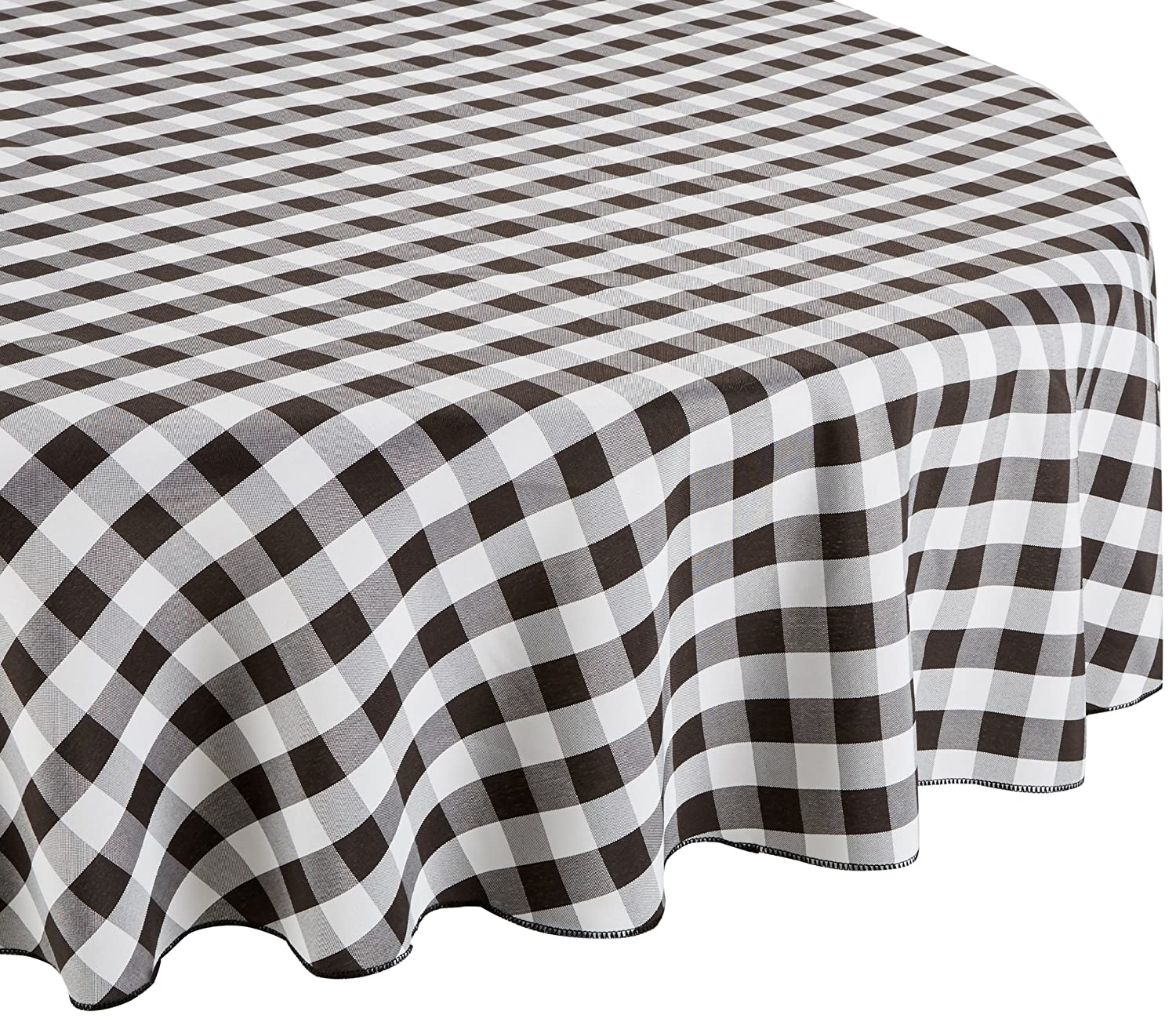 Charmant Amazon.com: LinenTablecloth 70 Inch Round Polyester Tablecloth Black U0026 White  Checker: Home U0026 Kitchen