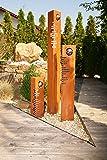 Säulenset Modern Säulen Set Edelrost mit Edelstahl - Kugeln Rost Garten Dekoration Stele