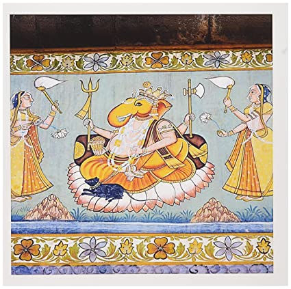 Amazon 3dRose Greeting Cards Rajasthan India Mural Painted On The Wall Gc 188254 2 Office Products
