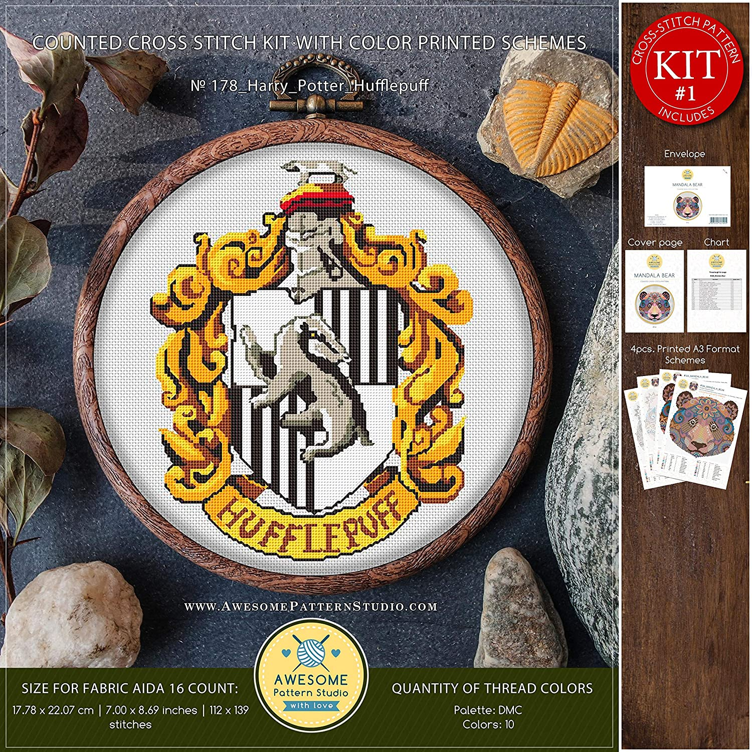 Harry Potter Hufflepuff #K178 Embroidery Kit How to Cross Stitch Kids Cross Stitch Patterns Needlepoint Kits Embroidery Designs