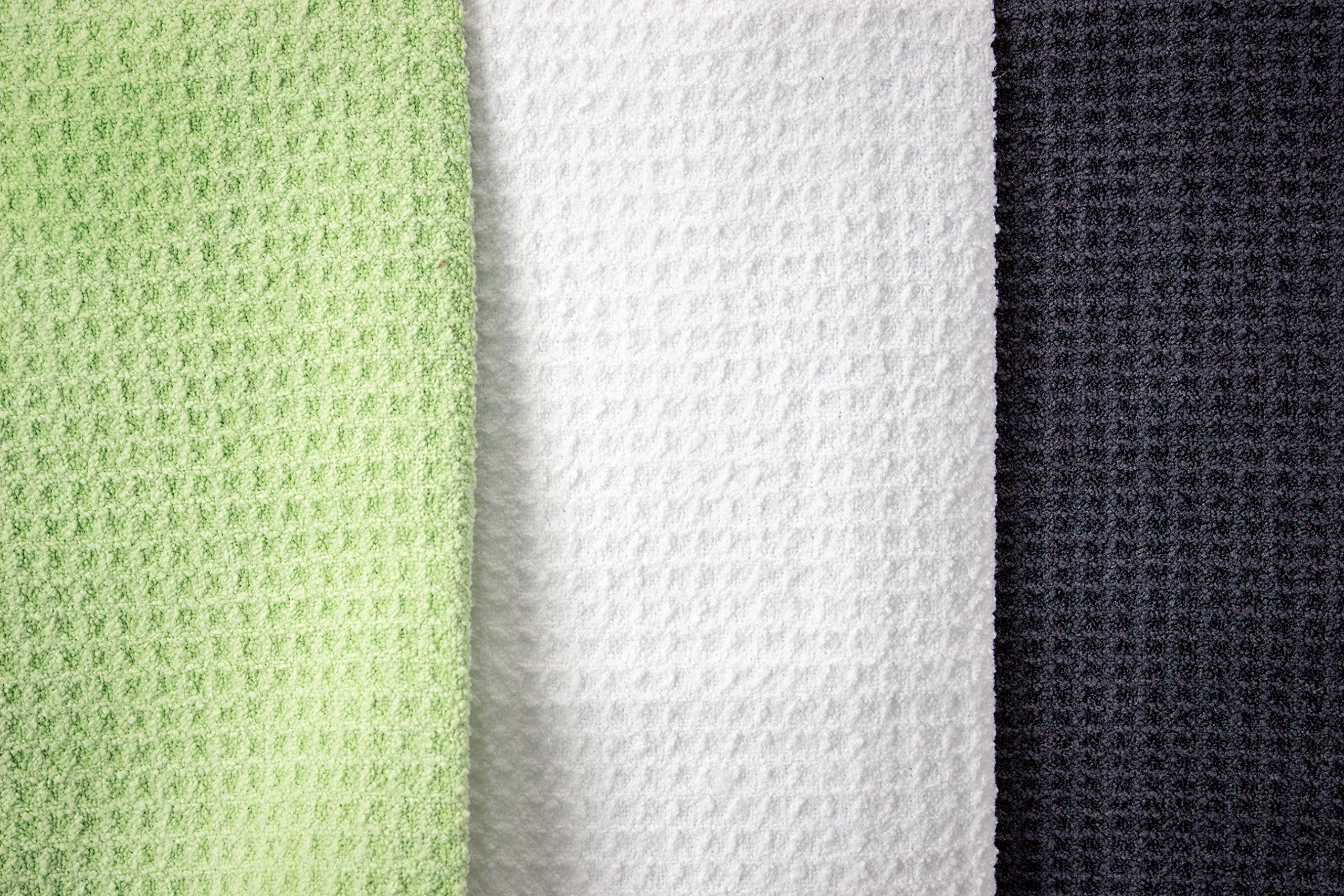 Zwipes Microfiber Waffle Weave Kitchen Dish Towel (Size: 12'' x 25''), Stemware & Bar Cleaning Cloth, 6-Pack, Green