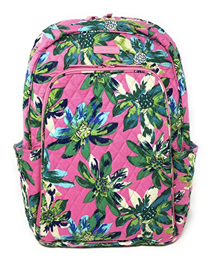 Laptop Backpack (Updated Version) with Solid Color Interiors (Tropical Paradise with Blue Interiors) Vera Bradley