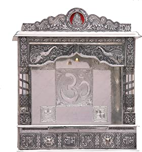 Home Pooja Wooden Mandir with White Oxidized Plated Puja Temple - Fully Assembled - 22 Inches Open