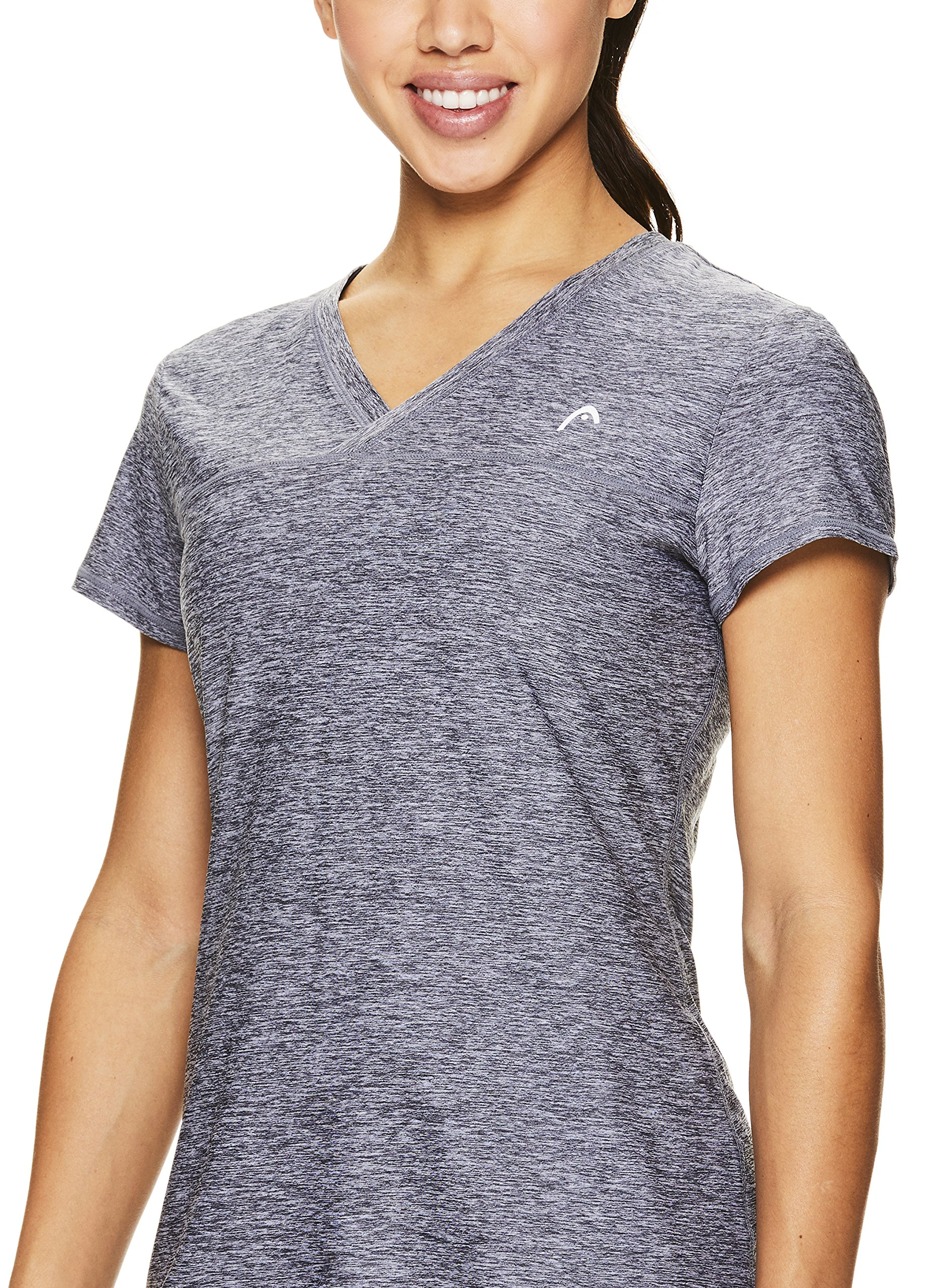 HEAD Women's High Jump Short Sleeve Workout T-Shirt - Performance V-Neck Activewear Top - Medium Grey Heather, X-Small by HEAD (Image #2)