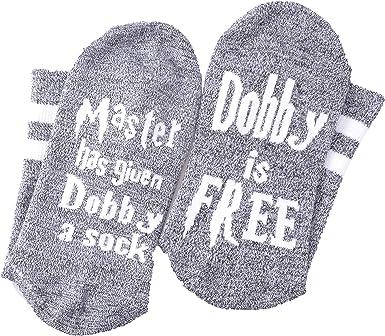 """Harry Potter Dobby Socks /""""Master Has Given Dobby a Sock Dobby is Free/""""  HOT"""