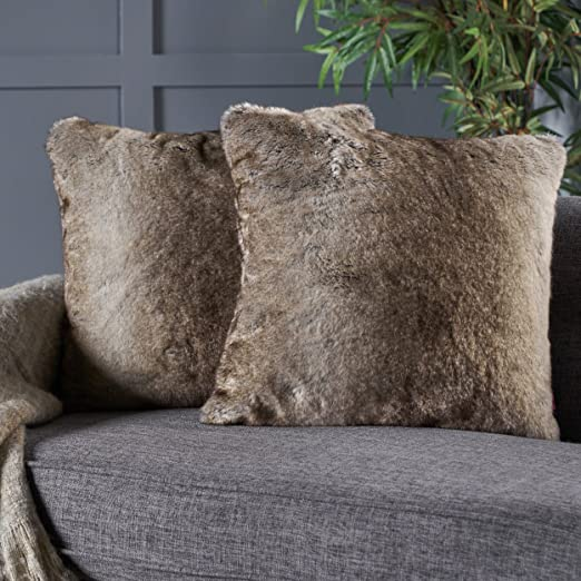 Faux Fur Pillow And Throw Set.Christopher Knight Home 299799 Ellison Faux Throw Pillow Set Of 2 Gray Taupe