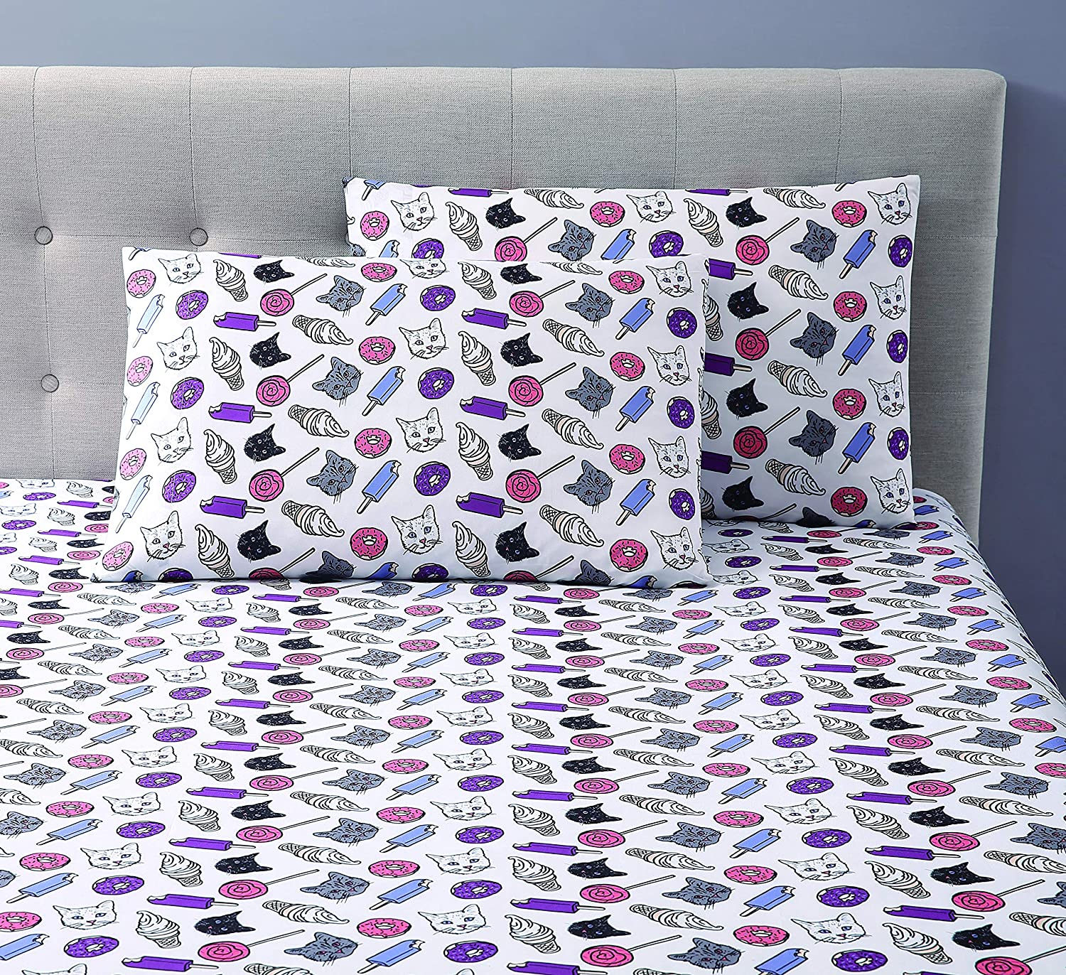 OH, HELLO, Bed, Cats & Junkfood, 2 Pc, Twin XL Sheet Set