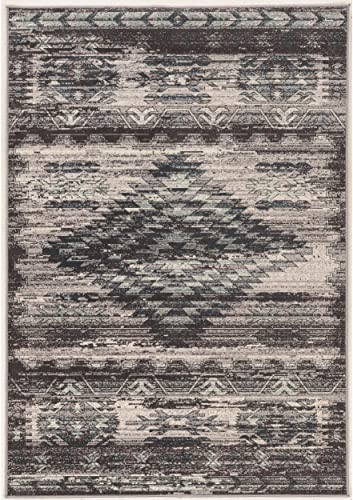 Area Rug in Distressed Gray and Charcoal 10 ft. L x 2 ft. W