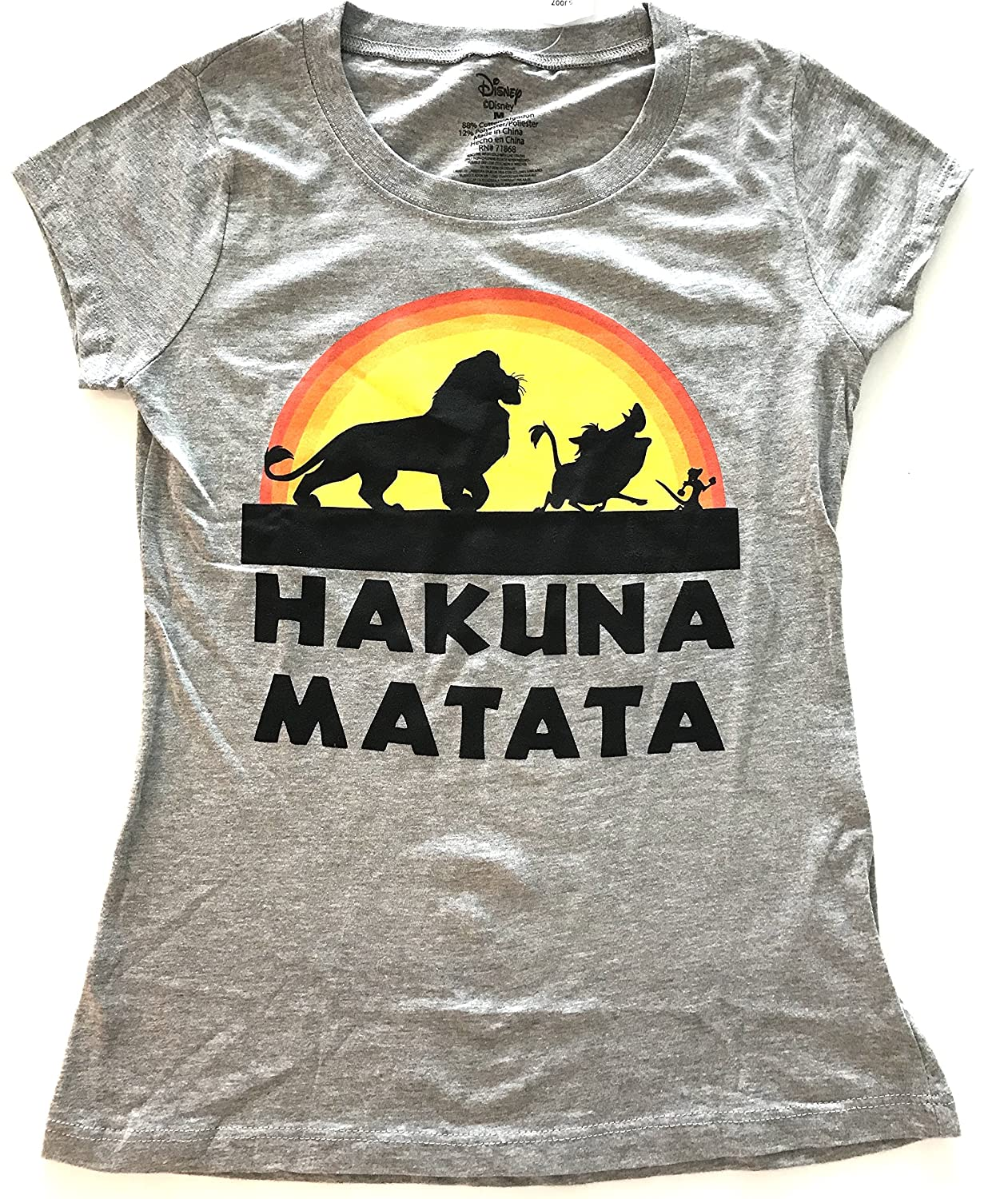 Disney Lion King Hakuna Matata T Shirt Women s Juniors color  light heather  grey fitted T shirt with cap sleeves. Printed with your favorite friends  from ... 6a9ccf740