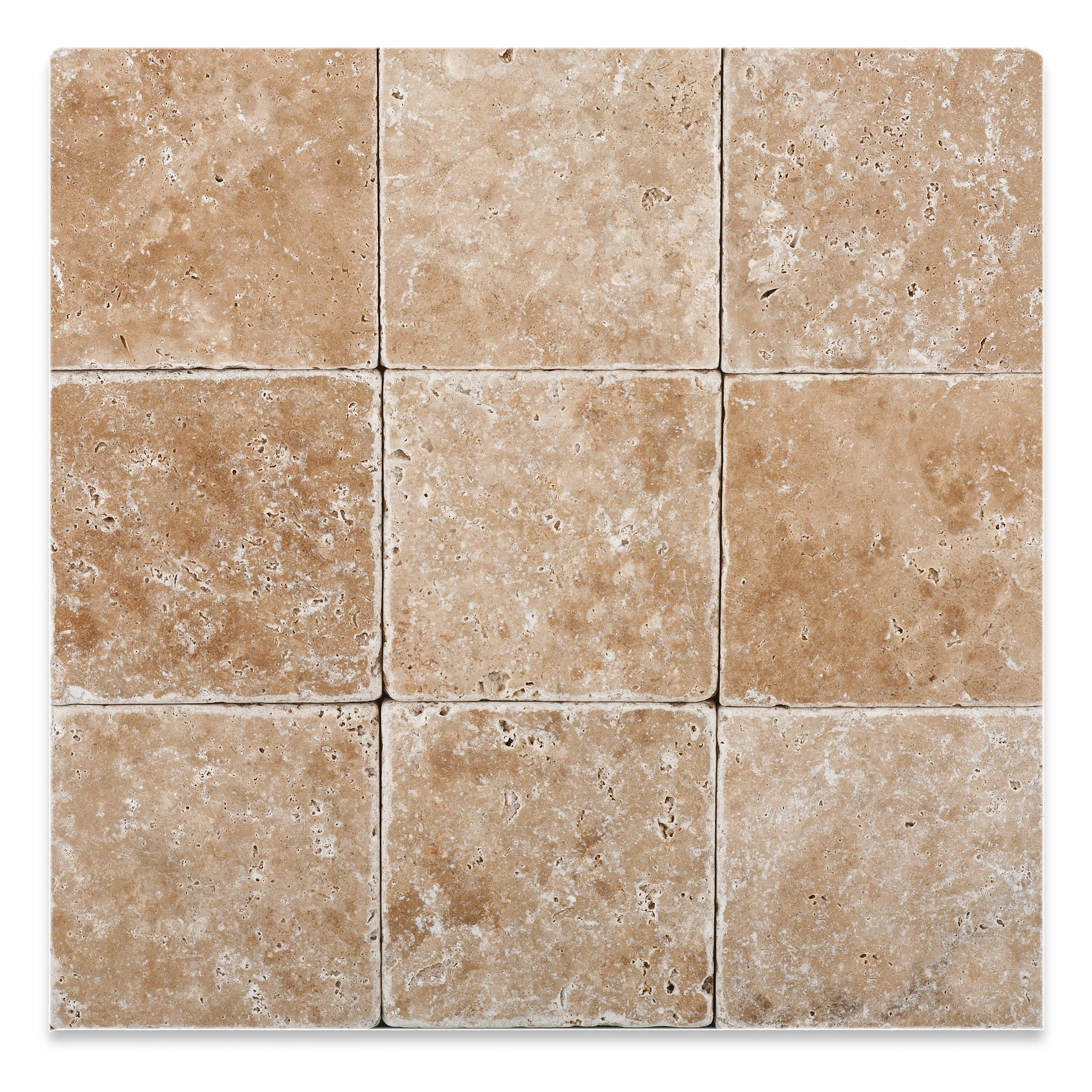 Walnut Travertine 4 X 4 Tumbled Field Tile - Box of 5 sq. ft.