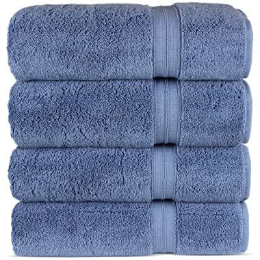 Luxury Premium Turkish Cotton 4-Piece Bath Towels, Long-Stable 20/2, 2 Ply Turkish Ring-Spun Cotton Yarn Makes The Luxe-Factor, Eco-Friendly, (Wedgewood)
