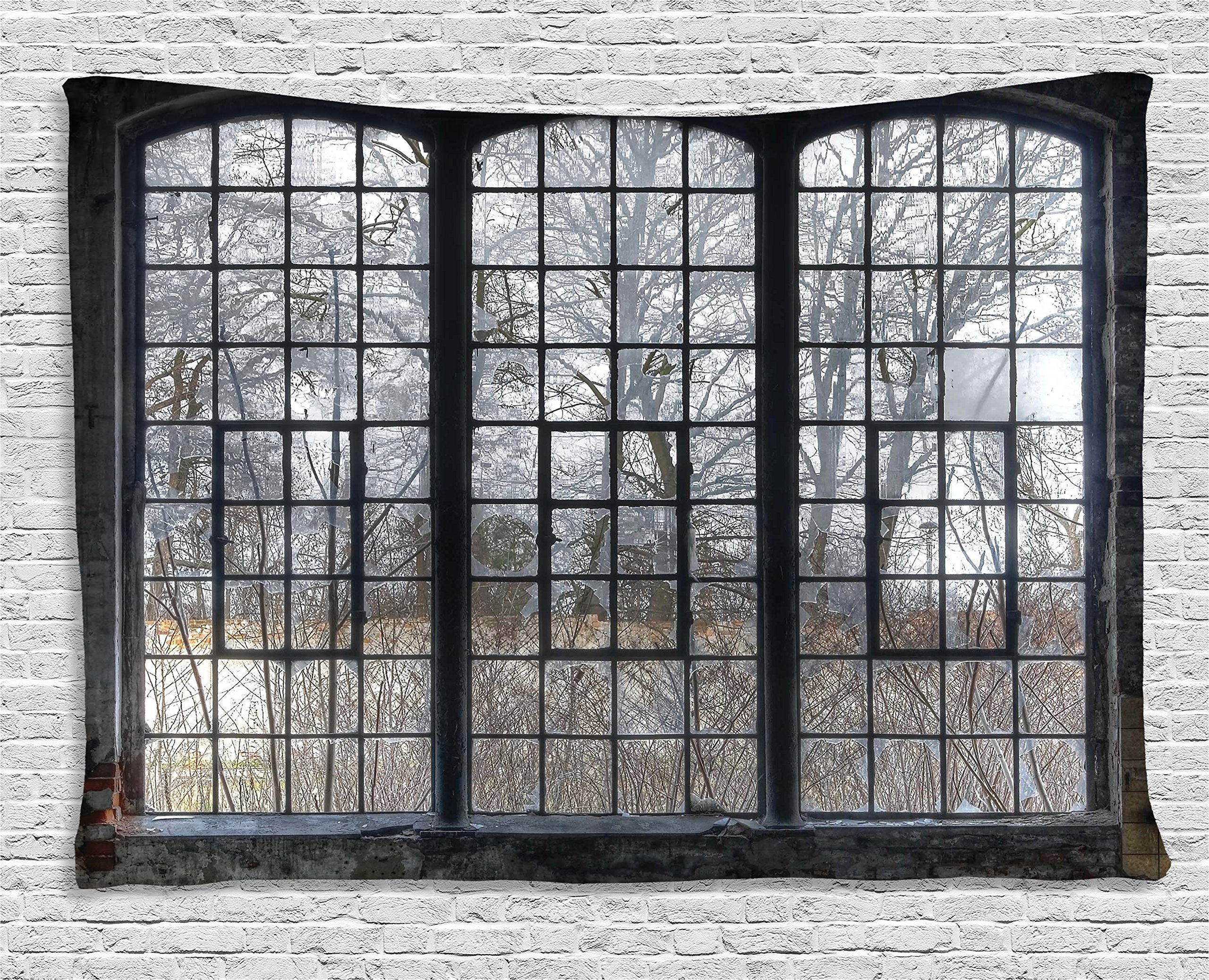 Ambesonne Industrial Decor Collection, Old Large Window With Broken Panes In A Deserted Hall Near Forest Trees Winter Time, Bedroom Living Room Dorm Wall Hanging Tapestry, 80W X 60L Inch