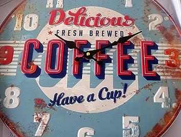 Kaffee Retro Diner Wanduhr Große Vintage Rustikal Used ...