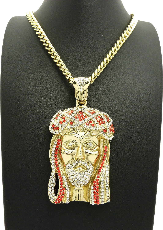 Mens Hip Hop Power Plug 18k Gold Plated Pendant 30Cuban Chain Necklace