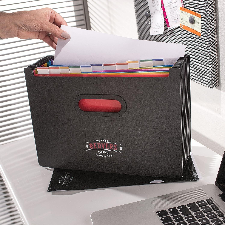 Redverce Office Organizer a soffietto/portadocumenti formato A4 con 13 scomparti, in plastica resistente, per casa o ufficio, raccoglitore ad anelli, da usare come scatola per archivio/ documenti Redvers Office