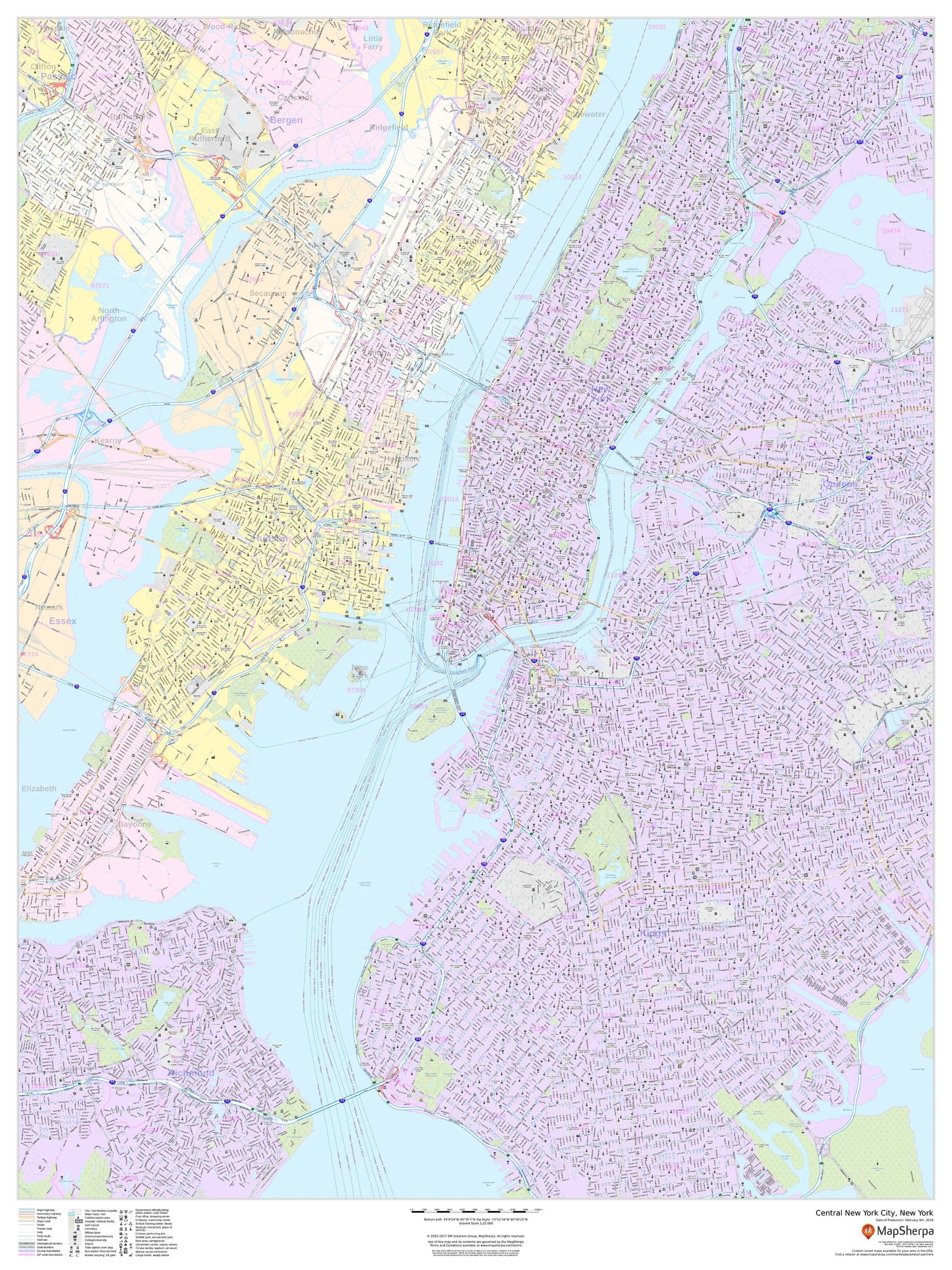 Central New York City, New York - Portrait - 36 x 48 inches - Laminated - Wall Map