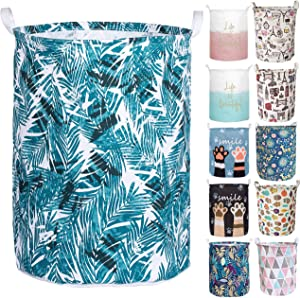 Aouker Merdes 19.7'' Waterproof Foldable Laundry Hamper, Dirty Clothes Laundry Basket, Linen Bin Storage Organizer for Toy Collection (Palm Leaf)