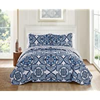 Victoria Classics Bradshaw 3 Piece Reversible Bedding Quilt Set Full/Queen Navy