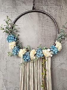 "RISEON Handmade 32"" Long Large Tassel Dream Catcher Wall Hanging Decoration Macrame Fringe Floral Flower Wreath Dreamcatcher Boho Home Decor Ornament Gift (Light Blue)"
