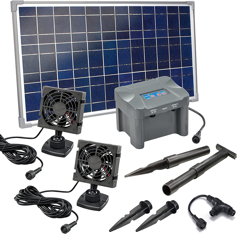 Kit Ventilateur solaire 25/W Duo avec batterie m/émoire Flux dair max 180/m3/Ventilateur solaire 2/x Ventilateur 92/x 92/mm Kit dVentilateur 101032