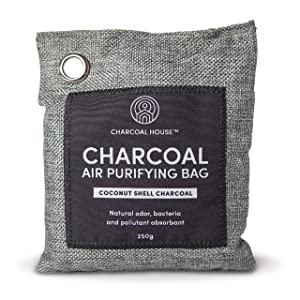 Coconut Charcoal Air Purifying Bags (4 x 250g), Odor Eliminators and Absorber for Home, Closets, Fridge, Car, with Premium Coconut
