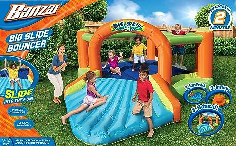 Beau Banzai Big Slide Bouncer (Outdoor Backyard Inflatable Summer Spring Bounce  House Castle)