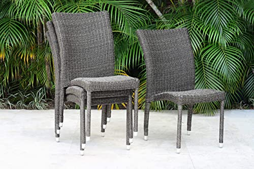 Atlantic Patio Atlantic Bari 4-Piece Patio Stackable Chairs Set Wicker Ideal for Outdoors and Indoors, Beige Gray