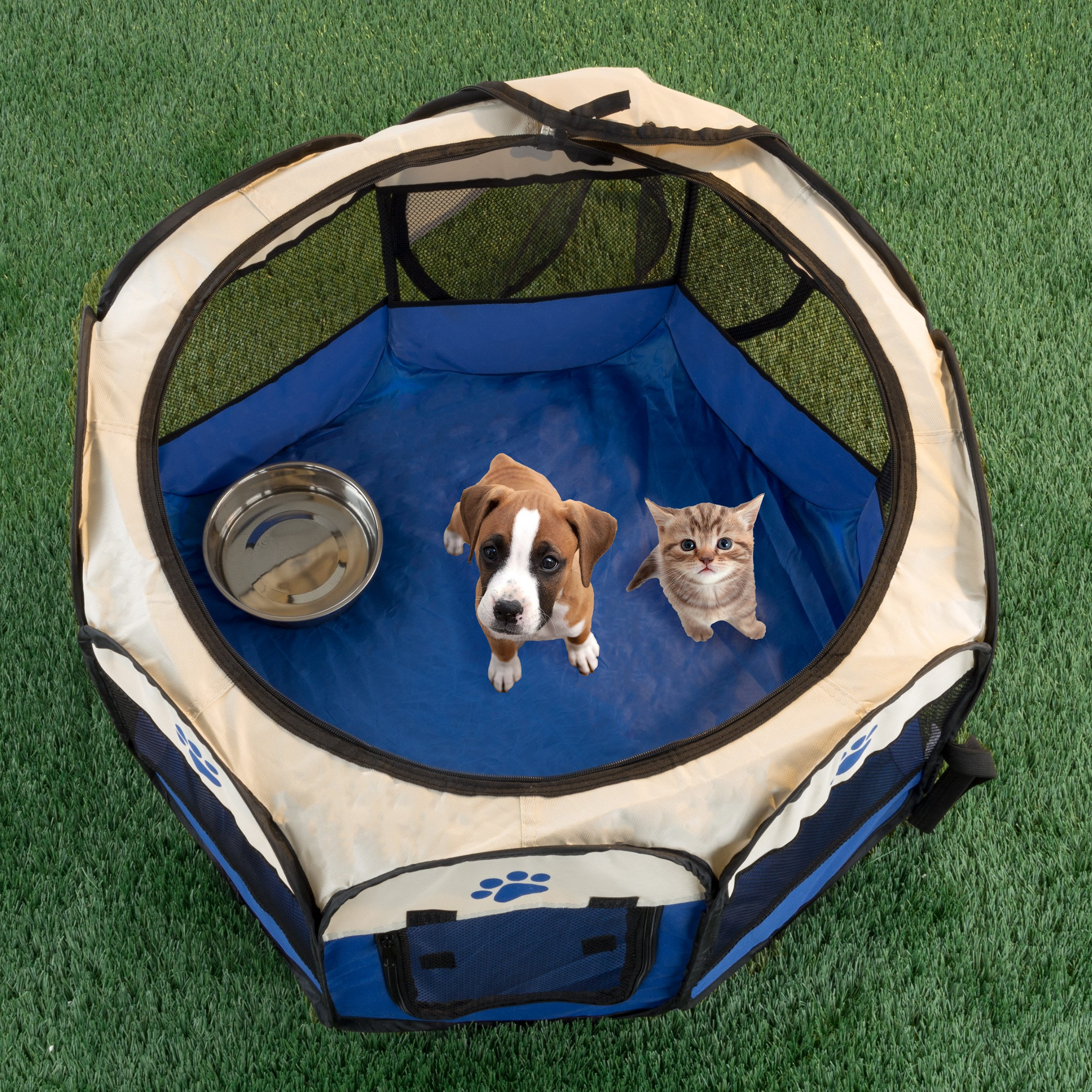 "PETMAKER Pop-Up Pet Playpen with Carrying Case for Indoor/Outdoor Use 26.5"" x 17""-Portable for Travel-Great for Dogs, Cats, Small Animals (Blue)"