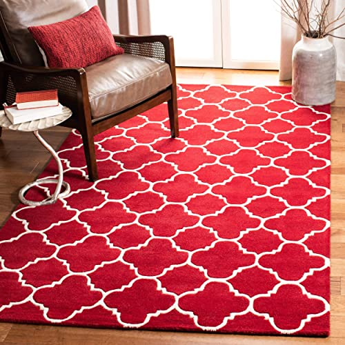Safavieh Chatham Collection CHT717G Handmade Red and Ivory Premium Wool Area Rug 8'9″ x 12'