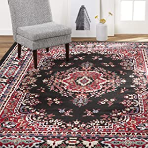 Home Dynamix Premium Sakarya Traditional Rectangle Area Rug, Oriental Black/Red 5'2\