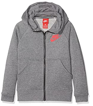 1087fab0fe Nike Performance Modern Veste à Capuche Fille, Carbon Heather/Light Fusion  Red, FR